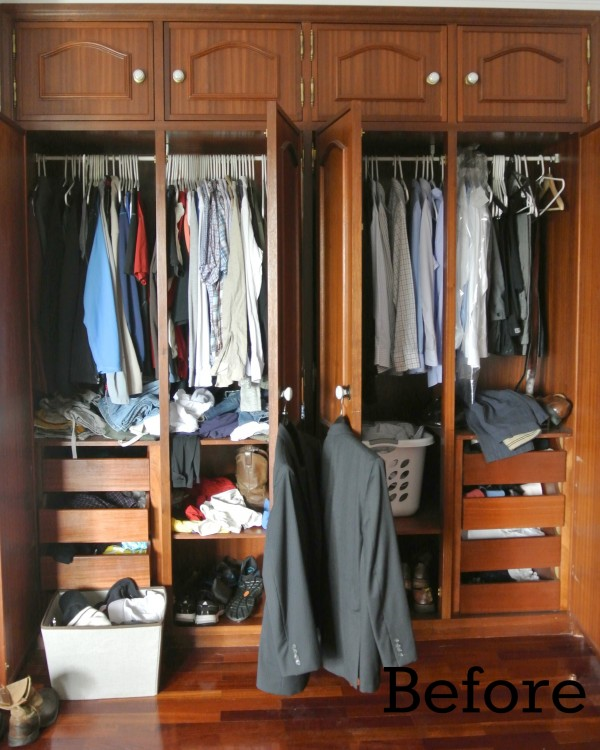 organizing his closet before
