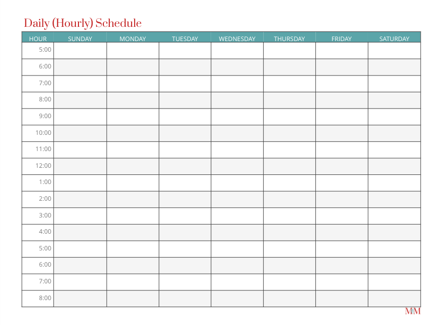 It's just a picture of Revered Printable Hourly Schedule